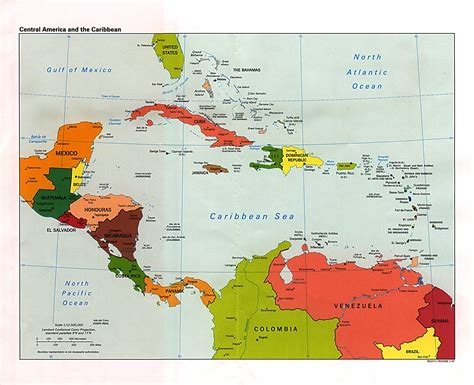 central america the caribbean map central american and caribbean political map the