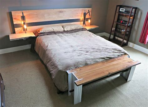 spalted curly maple and steel floating headboard by