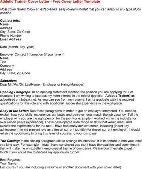 Athletic Trainer Cover Letter by Cover Letter For Certified Athletic Trainer Cover Letter Templates