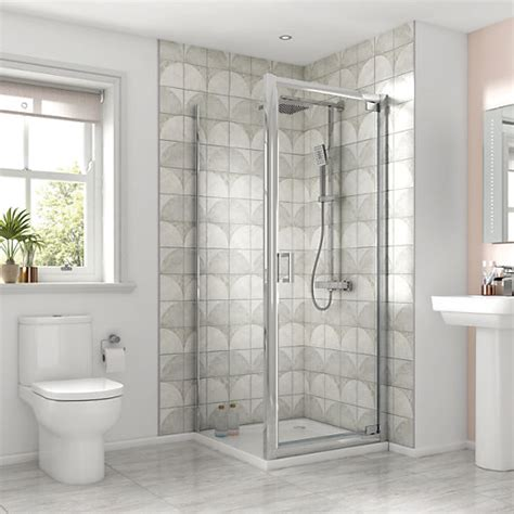 Wickes Shower Doors Wickes Square Pivot Semi Frameless Recess Door Chrome 760mm Wickes Co Uk