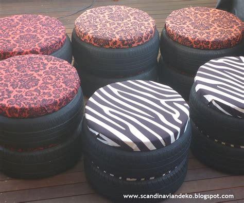 scandinavian deko recycled tyre stools  scancan design