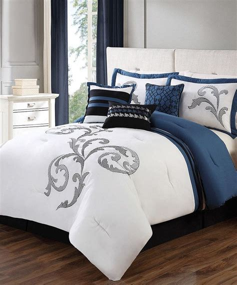 journee home seven piece blue white comforter set