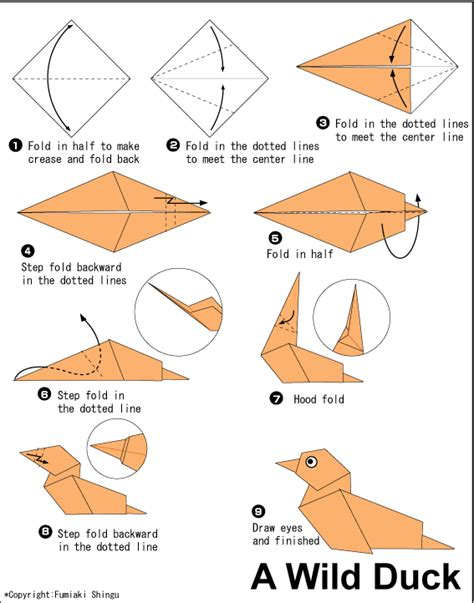 Origami Creatures - duck easy origami for