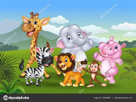 imagenes animales de la selva animados dibujos animados de animales salvajes en la selva
