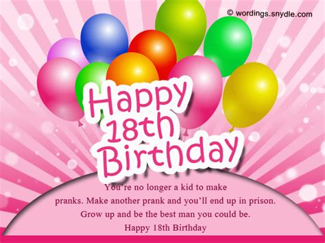 Happy 18 Birthday Wishes 18th Birthday Wishes Greeting And Messages Wordings And