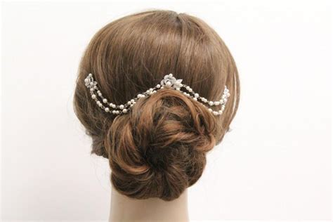 Vintage Wedding Hair Jewellery by Bridal Hair Chain Pearl Wedding Hair Accessories Bridal