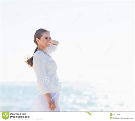 woman looking into distance royalty free stock photos image 5371368 portrait of smiling woman on sea shore looking into