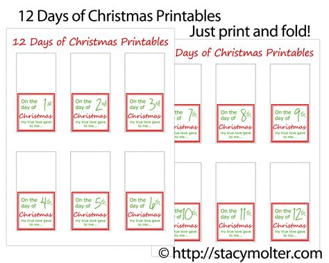 12 days of christmas gifts for him free printable