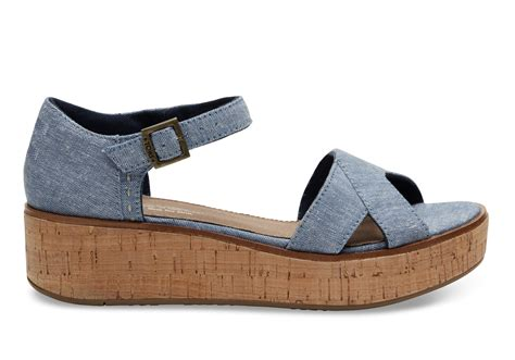 wedges shoes blue slub chambray s wedges toms 174