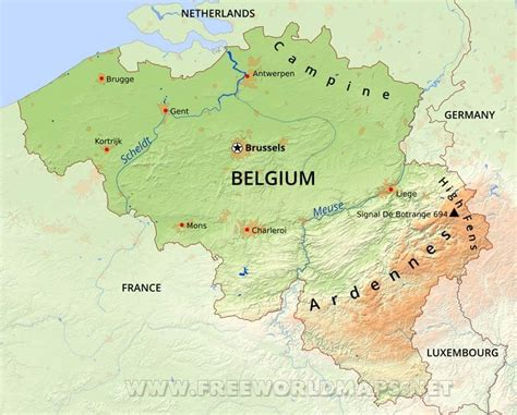 belgium rivers map belgium physical map