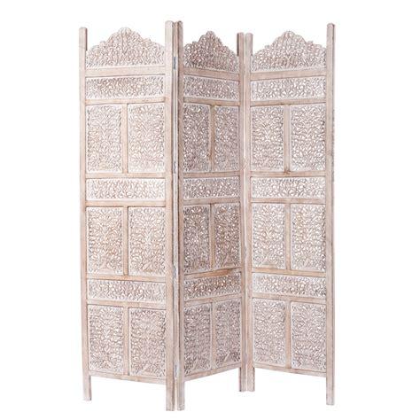 paravent de paravent en manguier blanchi l 150 cm udaipur maisons du monde