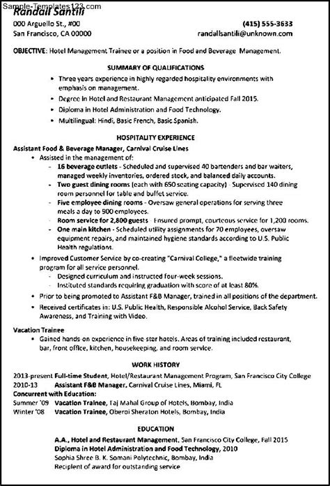 supply chain management trainee cover letter resume trainee hotel manager resume sales