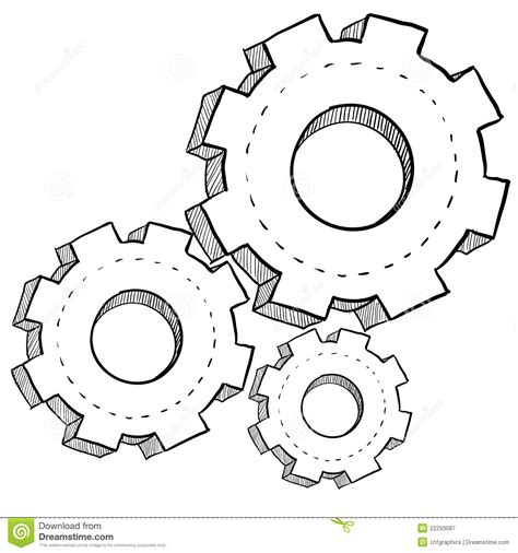 how to create mechanism in doodle gear mechanics or settings illustration stock vector