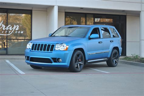 matte light blue jeep matte blue metallic jeep grand cherokee color change wrap