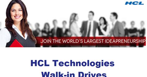 Blackrock Pay For Mba by Hcl Technologies Cus Drive For Freshers On 6th