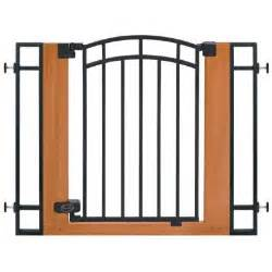home depot baby gate stylish and secure wood and metal walk thru gate 07534z