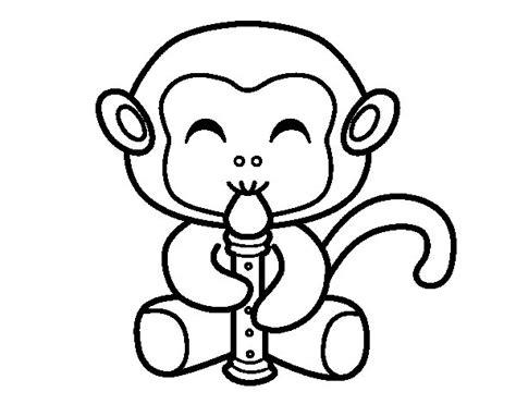 imagenes para dibujar musica disegno di scimmia flautista da colorare acolore com