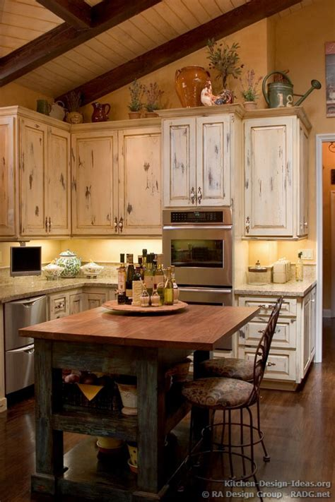 french country kitchen  antique island cabinets decor