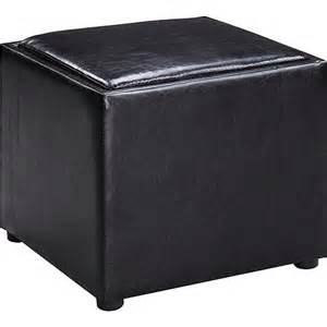 Leather Storage Ottoman With Tray Faux Leather Square Storage Ottoman With Wood Tray Black Furniture Walmart