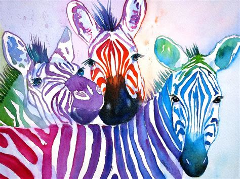 Paintings For Home Decor Rainbow Zebra S Painting By Carlin Blahnik
