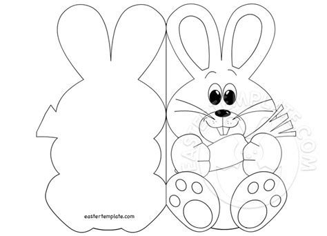 easter card template easter bunny card coloring page easter template