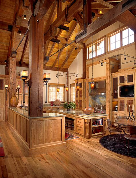 Rustic Mountain Cabin Cottage Plans by Mountain Chalet Timber Frame Rustic Kitchen Other