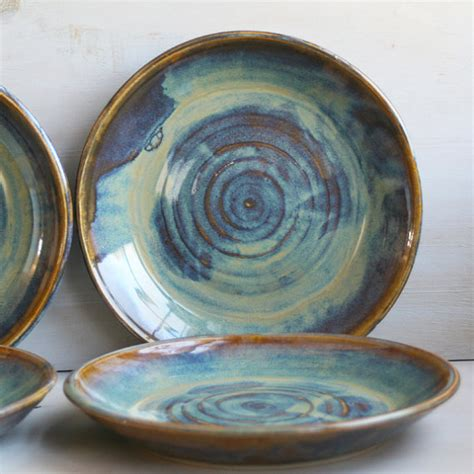 Handmade Pottery Dishes - ceramic dinnerware dishes rustic water color glaze by