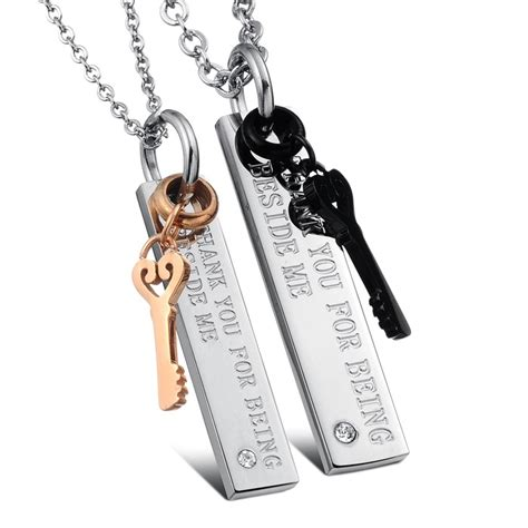 Stainless Steel Love Lock Couples Necklaces Pendants Set