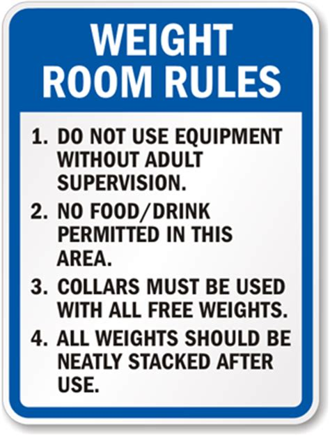 safety in the weight room weight room sign