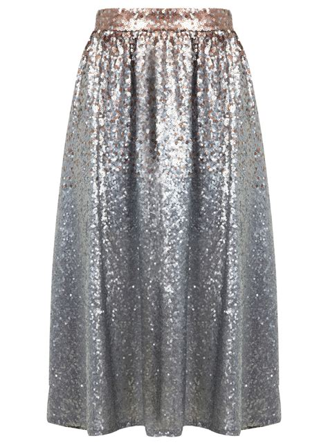 silver ombre sequin midi skirt miss selfridge