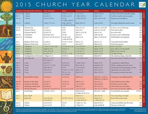 Episcopal Liturgical Calendar 2015 Church Calendar 2015 New Calendar Template Site