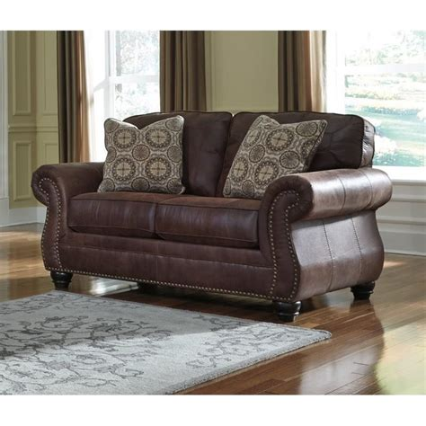 espresso leather loveseat ashley breville faux leather loveseat in espresso 8000335