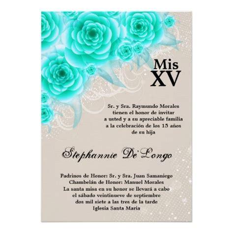 Quinceanera Sle Wording Invitation Cards Template by 5x7 Aqua Roses Quinceanera Birthday Invitation Aqua