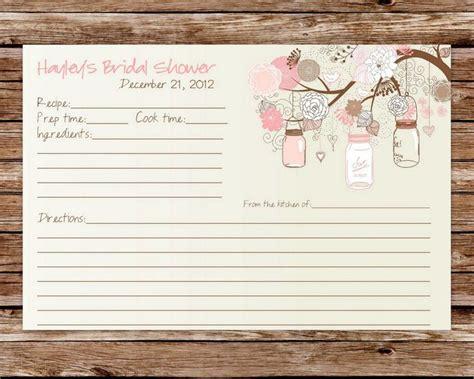 printable recipe cards etsy custom printable rustic vintage mason jars bridal shower