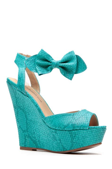 turquoise bow reptile textured wedges cicihot wedges