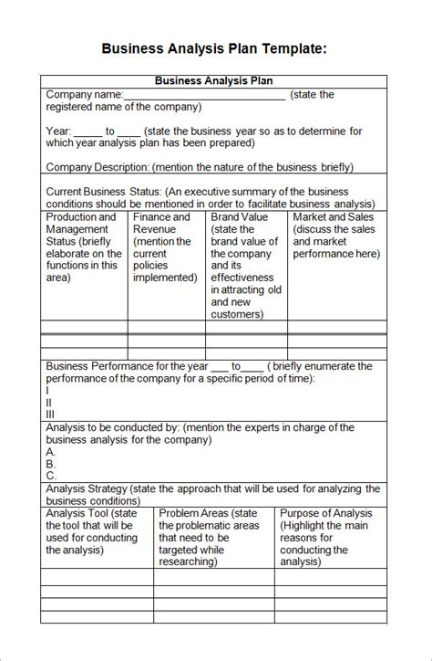 business plan analysis template 7 business analysis templates