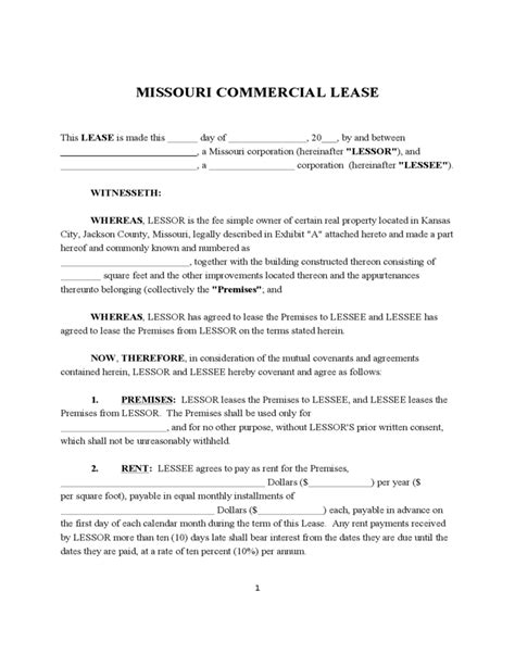 Free Missouri Commercial Lease Agreement 28 Images Free Missouri Monthly Rental Agreement Missouri Lease Agreement Template