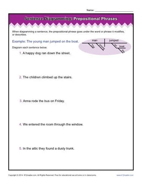 diagramming prepositional phrases prepositional phrase worksheet worksheets releaseboard