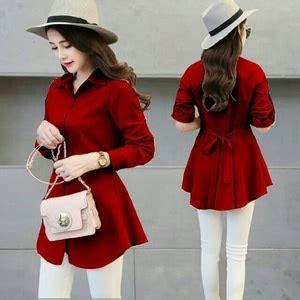 Atasan Baju Wanita Blouse Polos Hem Merah Hitam Putih Biru Pink Toska ryn fashion belanja puas harga pas