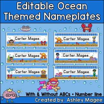 ocean themed desk name tags set of cubbies and work ocean themed editable name plates desk plates name