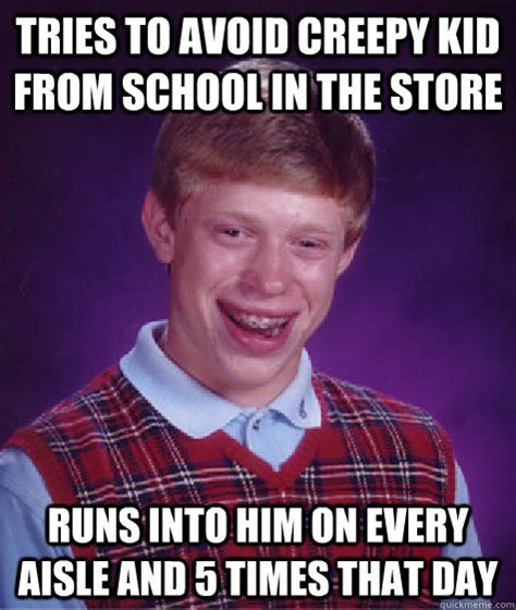 tries to avoid creepy kid from school in the store runs