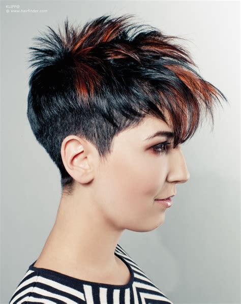 punky shoet pixi cut short japanese punk hairstyle black hair with copper