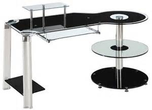 Innovex Computer Desk With Glass Top Innovex Round Shelf Glass Computer Desk Dp1025