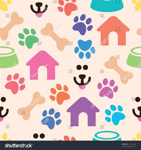 pattern for dog house vector seamless colorful pet pattern bones stock vector