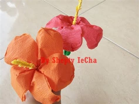 tutorial membuat bunga dari kertas krep cara membuat bunga sepatu dari kertas krep youtube