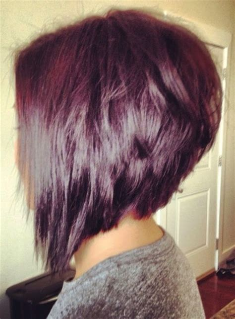 hairstyles for reverse triangle face choppy stacked inverted bob haircut side view hair