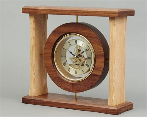 wood clock gold faced clock beveledge