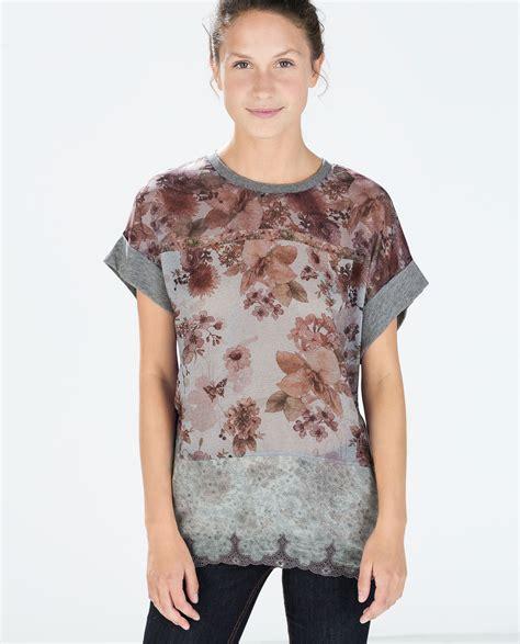 Preloved Zara Tshirt zara mixed fabric viscose t shirt in gray lyst
