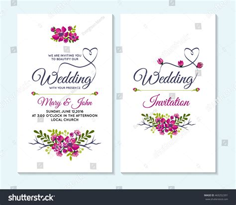 card wedding template wedding invitation thank you card save stock vector