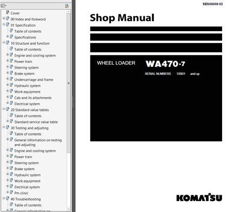 Shop Manual Komatsu Wheel Loader Wa470 7 komatsu wa470 7 wheel loader usa shop manual pdf